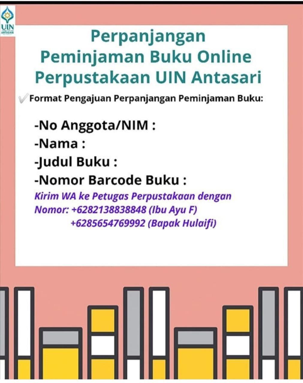 Layanan Perpanjangan Peminjaman Buku Secara Online Perpustakaan UIN Antasari Banjarmasin